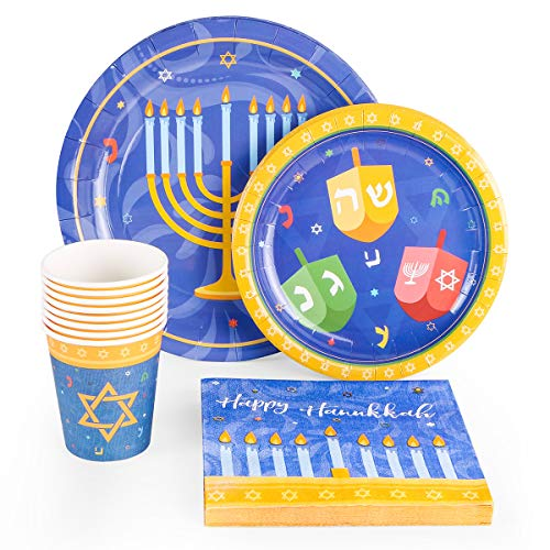 44PCS Hanukkah Party Supplies Set - Holiday Chanukah Party Decorations Favors Plates Cups Napkins