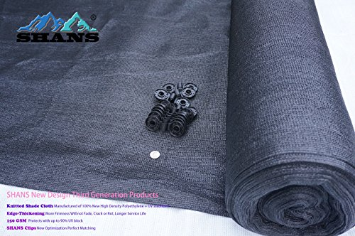 SHANS 85% Heavy Black Shade Cloth 12ft x 50ft with 20 Pcs Clips Free