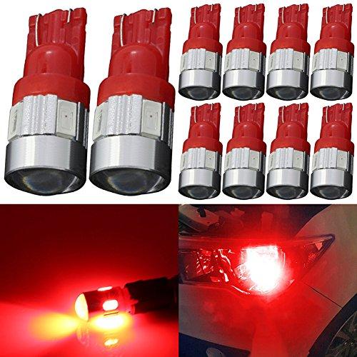 TABEN 194 LED-lampen rood 5730 Chipsets Projectorlens T10 W5W 168 2825 LED-lampen Vervanging Light Dome Map Courtesy Door Kenteken Gloeilampen (10st)