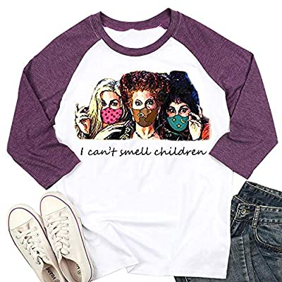 I Can't Smell Children T-Shirt Halloween Sanderson Sisters Women Funny Hocus Pocus Graphic Fall 3/4 Sleeve Tee Tops Purple