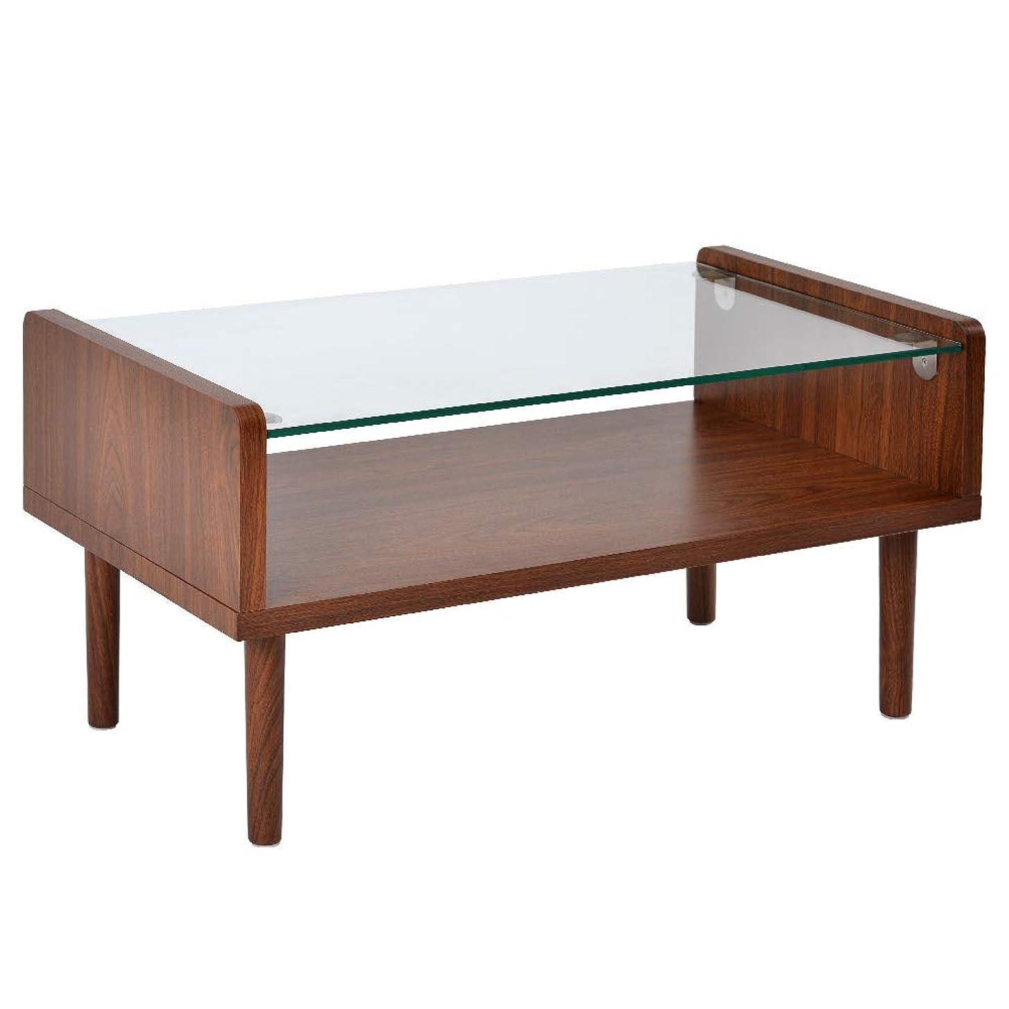 にやにや信じられない沼地OSJ ローテーブル ディスプレイ 強化ガラス 北欧スタイル ダークブラウン 80X43X40cm