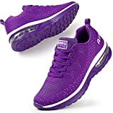 STQ Trainers Womens Running Shoes Ladies Mesh Breathable Lightweight Cushion Sports Fitness Low Top Sneakers Purple UK 5