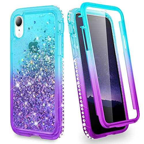 Ruky iPhone XR Christmas Case, Glitter Full Body Rugged Liquid Cover with Built-in Screen Protector Heavy Duty Shockproof Cute Girls Women Children Christmas Phone Case for iPhone XR, Christmas Tree