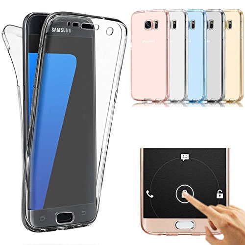 AMASELL SWEET-430 Full Coverage 360 Degree Front and Back Protective Case Shockproof TPU Gel Transparent Clear Cover for Samsung Galaxy S7 Edge