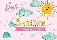 新しいBoTong 7x5ft私たちの小さな太陽の光1つの背景を回すピンクイエローガールサンシャイン1歳の誕生日テーマ招待状パーティー写真の背景新生児