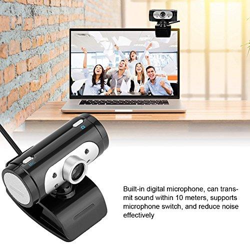 Richer-R HD Webcam, 4 LED Licht 720P HD USB PC Webcam Web Cam Camera,Horizontal 360 ° Drehung USB 2.0 Webkamera mit Eingebautes Mikrofon für PC Laptops Desktop Schwarz