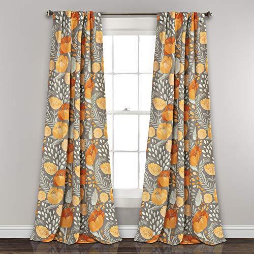 "Lush Decor Poppy Garden Curtains Room Darkening Window Panel Set for Living, Dining, Bedroom, 84"" L Pair, Yellow & Gray"
