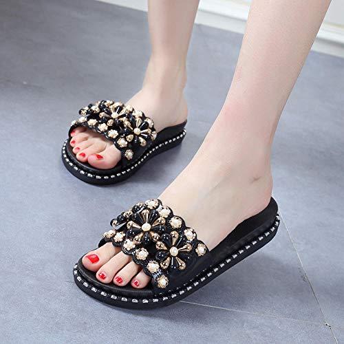MMWW Zapatillas de casa de Fondo Suave,Zapatillas de tacón de Pendiente de Moda para Mujer, Sandalias de Plataforma con Plataforma de Uso Exterior-Negro_39,Zapatillas de el hogar cómodas