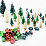 Iceyyyy 56 Pcs Artificial Mini Christmas Trees Set - Miniature Sisal Frosted Christmas Trees Bottle Brush Trees for DIY Crafts Home Table Top Decor …