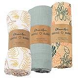 Organic Muslin Swaddle Blanket Oliver & Rain, Newborn Baby Girl, Kangaroo, Khaki Floral & Aqua Grey 3 Pack
