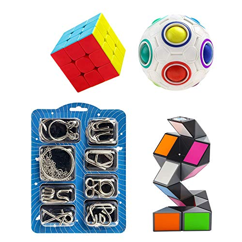 Vdealen 11 Pcs Brain Teaser Puzzles Toy Set, Puzzle Toys with Rainbow Ball, Magic Snake Cube, 3x3 Speed Cube and Metal Wire Puzzles, 3D Puzzles IQ Toys Set for Kids of All Ages