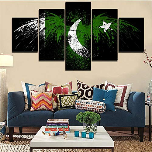 Murturall 5 stuks afdrukken op canvas, Pakistaanse vlag canvas schilderij moderne muurkunst schilderijen wooncultuur poster 150x80cm