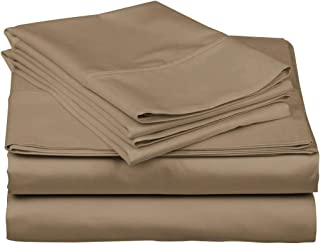 TheSignature Luxury 800-Thread-Count 100% Egyptian Cotton Bed Sheets, 4-Pc Cal-King Taupe Sheet Set, Single Ply Long-Staple Yarns, Soft& Smooth, Fits Mattress Upto 16'' Deep Pocket