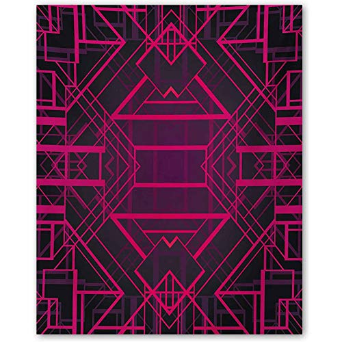 Mangooly Indigo Inspirational Posters for classrooms Geometric Modern Design with Lines Triangle Square Details Art Print mom Gifts for Christmas Pink Burgundy and Purple L12 x H18 Inch
