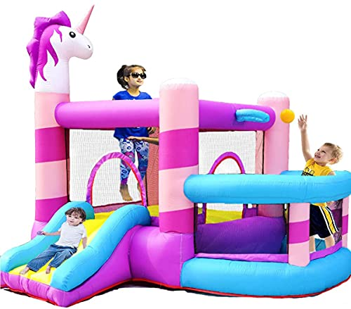 MEIOUKA Kids Inflatable Bounce House Castle with Slide 350W Blower Ball Rim Pit Cartoon Blow up Jump Bouncy Houses for Kids Girls Toddlers Indoor Outdoor Inflatable Bouncer House Party Yard Toys