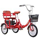 ZCXBHD 3 ruote da crociera bicicletta adulto 3 ruote triciclo pieghevole da 16 pollici con cesti e sedile posteriore ideale per adulti anziani persone regalo (colore : rosso)