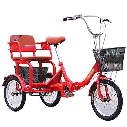 ZNND Bicicletas reclinadas Plegable Triciclos para Adultos 16 Pulgadas Trike con Cesta Compra Fuerte Y Asiento Trasero Bicicleta 3 Ruedas Ajustable Pedal De Mano De Obra para Ancianos