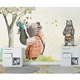 Rureng 3D Gemaltes Großes WandbildNette Bären Baum 3D Cartoon Tapete Wandbild Für Kind Baby Zimmer 3D Cartoon WandbildWandpapier Aufkleber-280X200Cm