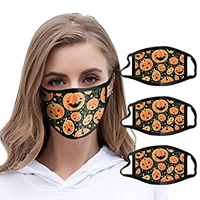 Luckylin Unisex Cotton Face Protection Bandanas,Reusable Dust Mouth Cover,Halloween Print Comfy Breathable Mouth Covering,One Size fit All