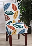 Lukzer 1PC Elastic Chair Cover Stretchable (Multicolour Leaves Design) Removable & Washable Dining Chair Cover Protective Seat Slipcover Home Décor