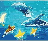 ジグソーパズル大人のための1000個油絵ジグソーパズル動物パズルフクロウパズルアートワークパズル子供向けおもちゃ教育リラクゼーションクリスマスギフト小さな女の子とクジラ50x75cm