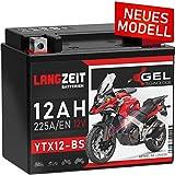 LANGZEIT YTX12-BS Motorradbatterie 12V 12Ah 225A/EN Gel Batterie 12V doppelte Lebensdauer entspricht CTX12-BS 51012 GTX12-BS Quad vorgeladen auslaufsicher wartungsfrei