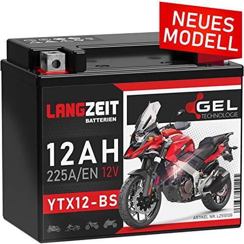 LANGZEIT YTX12-BS GEL Motorradbatterie 12V 12Ah 225A/EN GEL Batterie 12V doppelte Lebensdauer entspricht CTX12-BS 51012 GTX12-BS Quad vorgeladen auslaufsicher wartungsfrei