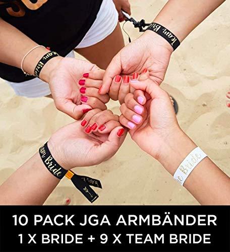 10 x set Team Bride Wristband (ENGLISH) - 1 x Bride + 9 x Team Bride JGA Armbänder ~ als kleines Geschenk für den Junggesellinnenabschied ~ JGA Bracelet