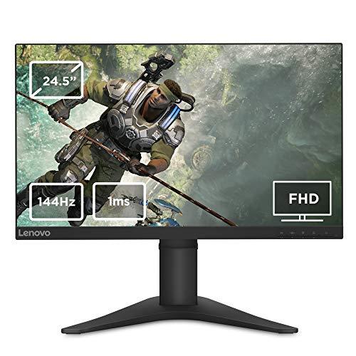 Lenovo G25-10 24.5 Inch FHD Monitor (TN Panel, 144 Hz, 1 ms, HMDI, DP) Tilt & Height Adjusting Screen, Black