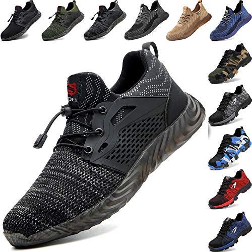 BAOLESEM Sicherheitsschuhe Herren Arbeitsschuhe Damen S3 Sportlich Leicht Atmungsaktiv Schutzschuhe Stahlkappe Schuhe, 03 Grau, 43 EU
