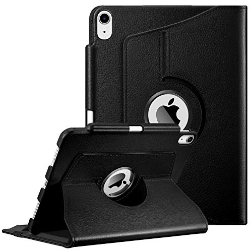 FINTIE Case for iPad Air 4th Generation 10.9 Inch 2020 with Pencil Holder [Support 2nd Gen Pencil Charging] - 360 Degree Rotating Stand Protective Cover with Auto Sleep/Wake, Black