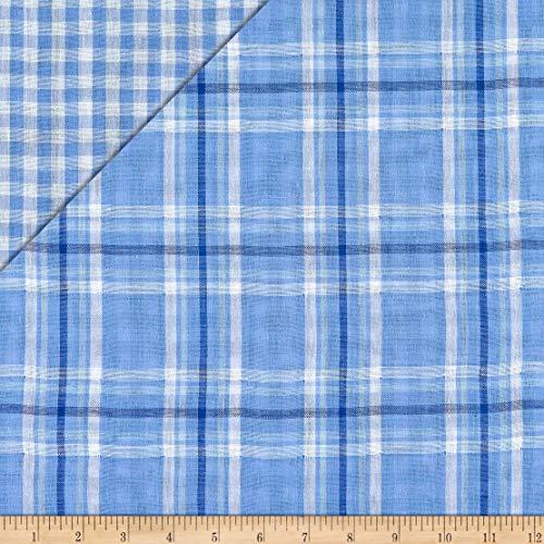 Fabric Double Face Plaid Cotton Gauze, Chambray