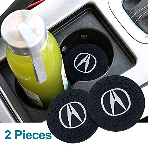 Wall Stickz Auto Sport 2.75 Inch Diameter Oval Tough Car Logo Vehicle Travel Auto Cup Holder Insert Coaster Can 2 Pcs Pack Fit Acura Accessory