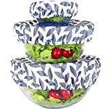 wegreeco Reusable Bowl Covers - Set of 3, Grey Leaf