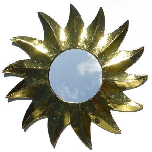 Guru-Shop Zonnespiegel, Decoratie Spiegel van Hout in de Vorm van een zon - Goud 2, Bruin, 34x34x1 cm, Decoratie Voor de Kinderkamer