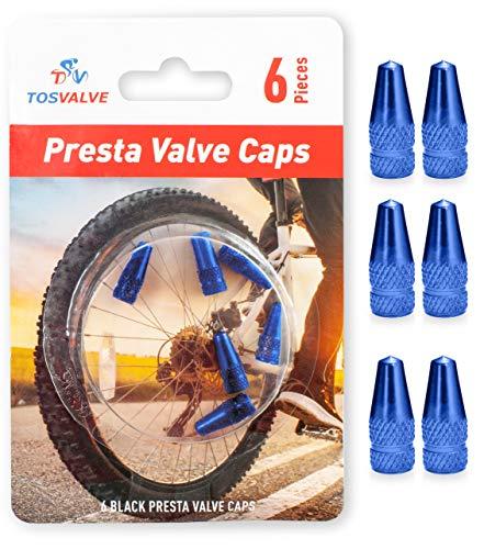 Presta Valve Caps - Tire Valve Stem Caps 6pcs - Anodized Presta Valve Caps - Dust Caps Tire - Bike Presta Valve Cap Aluminum Color - Bicycle Presta Valve Cover - Air Caps Tires (Blue)