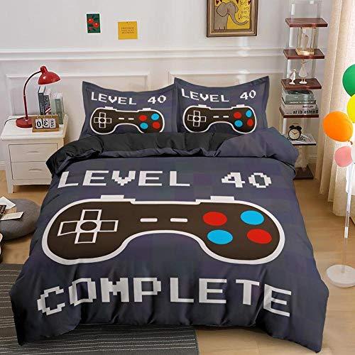 HGFHKL Play Mat Juego de Cama de Colores Grises para niños Funda de edredón de Jugador Moderno edredón de Videojuegos Botones de acción de Colores para niños 3 Piezas