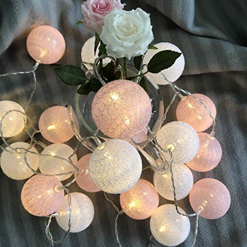 Gladworts Decorative String Lights for Bedroom Hanging Light Globe Newborn Decor Balls, USB Powered Indoor Lights for Home Decor, 10ft, Warm White and Pink Accessories