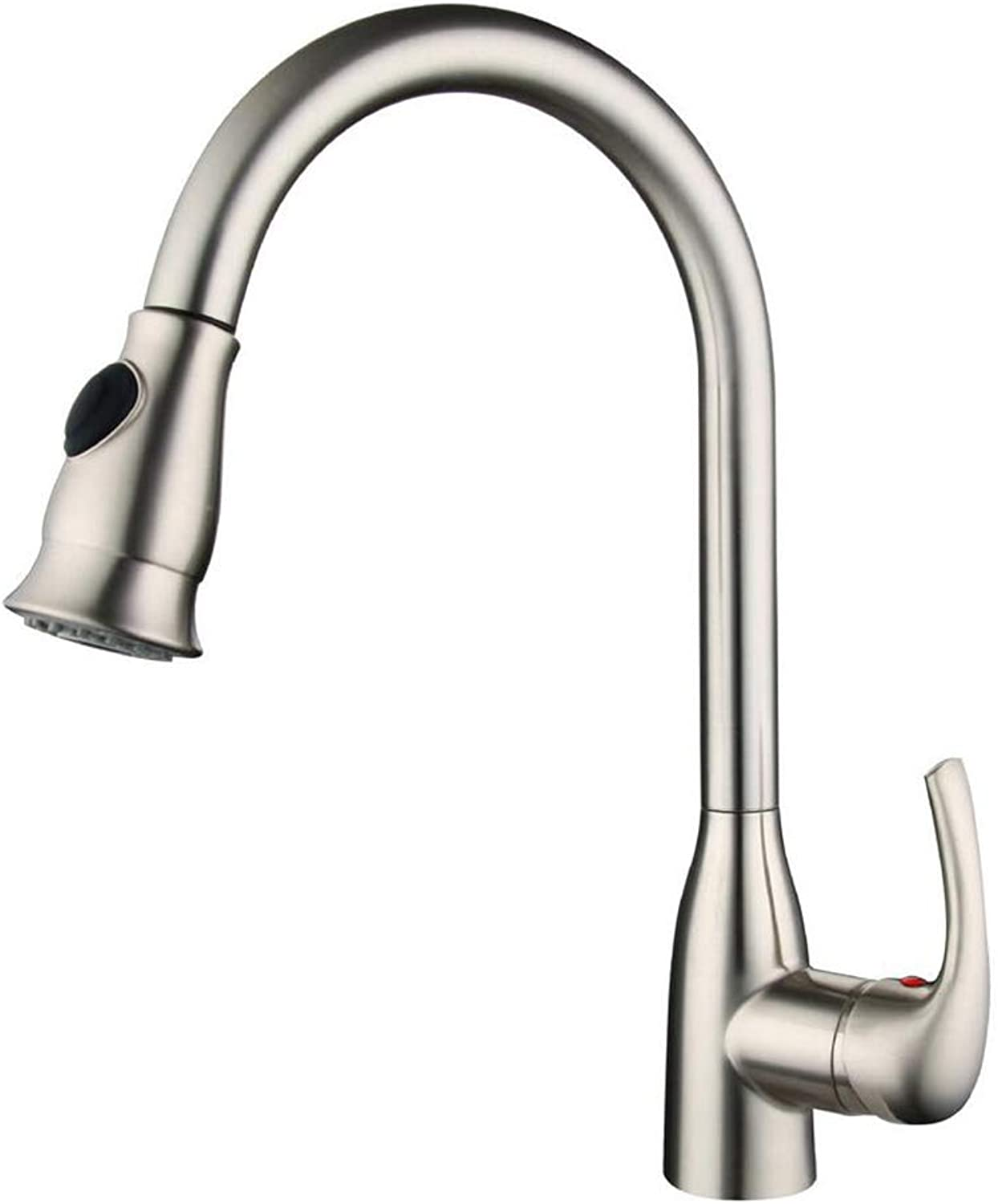 GAOXP Basin Faucet, Lead-free Faucet, Hot and Cold Kitchen Sink Telescopic redary Faucet, Single Handle High Arc Brushed Nickel Pull Out Kitchen Faucet, Electroplated Brushed Copper Faucet