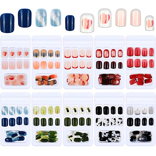 240 Pieces 10 Sets Short Square False Nails Press on Nails Square Glossy Fake Nails Acrylic Full Cover Nail Tip with 10 Sheets Nail Glue Stickers for DIY Nail Art (Black Spots with White Color)