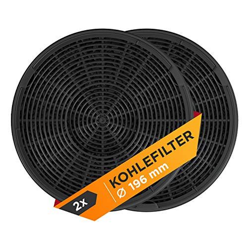 Filtro de carbón activo de repuesto para 902979357/8 EFF62, filtro de carbón de 196 mm de diámetro, filtro de olores para campana extractora, campana extractora