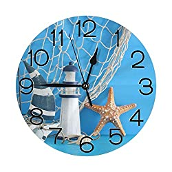 Stylish 3D Nautical Sailboat Lighthouse Starfish Seashells Fishnet Over Blue Wooden Round Wall Clock Battery Operated Quartz Analog Quiet Home Kitchen Decor Wall Clocks(9.5 Inch)