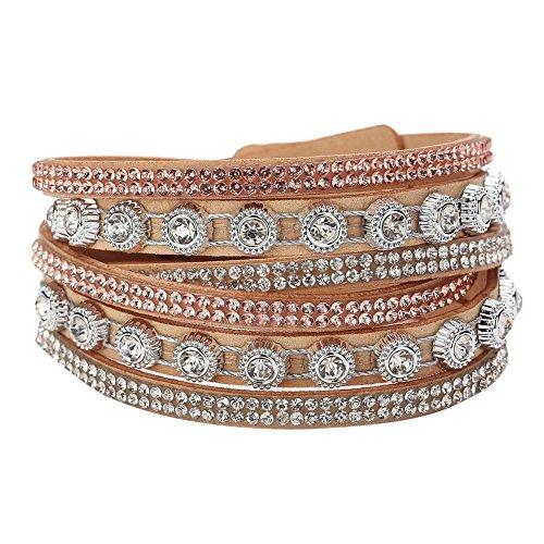 La Cabina Unisexe Bracelet Femme Cuir Tressé Bijou Fantaisie Mode Bracelet de Poignet Snap Décoration Bangle Strass Décoration Multi-Couche