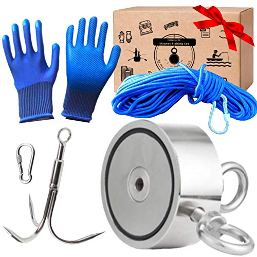 Logui Complete Double Sided Magnet Fishing Kit - 1000 LB Magnet Pull (2 Fishing Magnets 500 LB Combined) - with Grappling Hook, Heavy Duty 65FT Rope, Gloves, Locking Carabiner - Fishing Magnet Kit