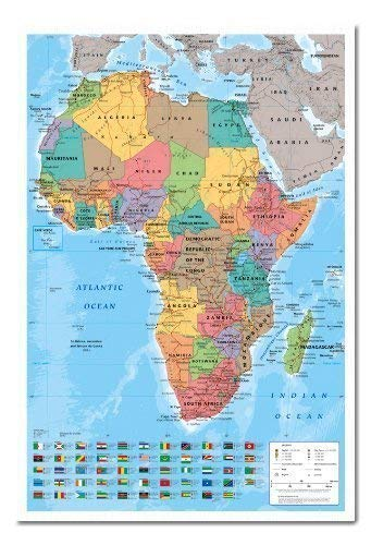 How to Africa Map Wall Chart Poster Magnetic Notice Board White