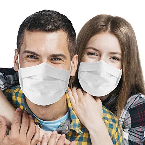 vyvy mobile 1 x Behelfsmaske waschbar aus 100% Baumwolle mit Nasenbügel Made in Europa Mundschutz Nasenschutz weiß