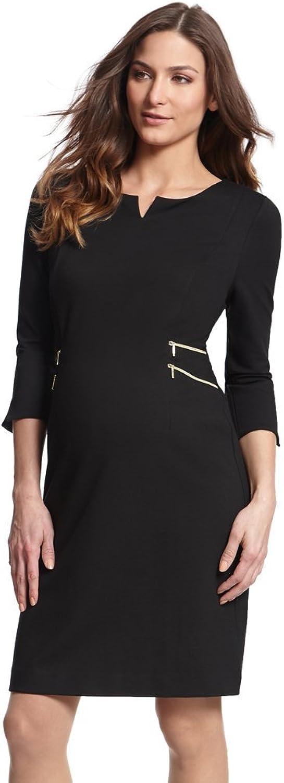 Seraphine Maternity Women's Black Zip Detail Maternity Dress