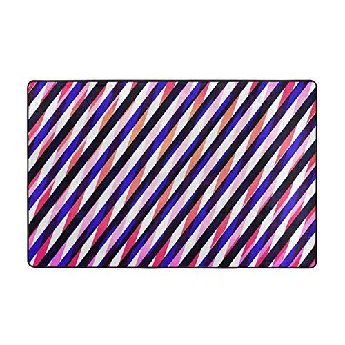 GAHAHA Alfombra azul geometría rosa lavable para sala de estar gran alfombra antideslizante cómodo cojín 152,4 x 99 cm