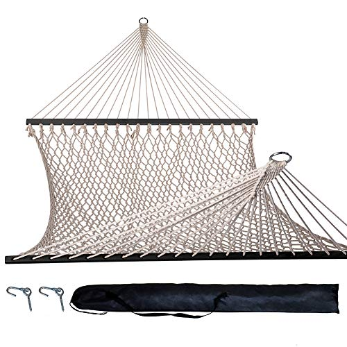 Lazy Daze Hammocks Cotton Rope Double Hammock with Black Wood Spreader, Hooks and Carring Bag, for Two Person, 450 Pounds Capacity, Natural