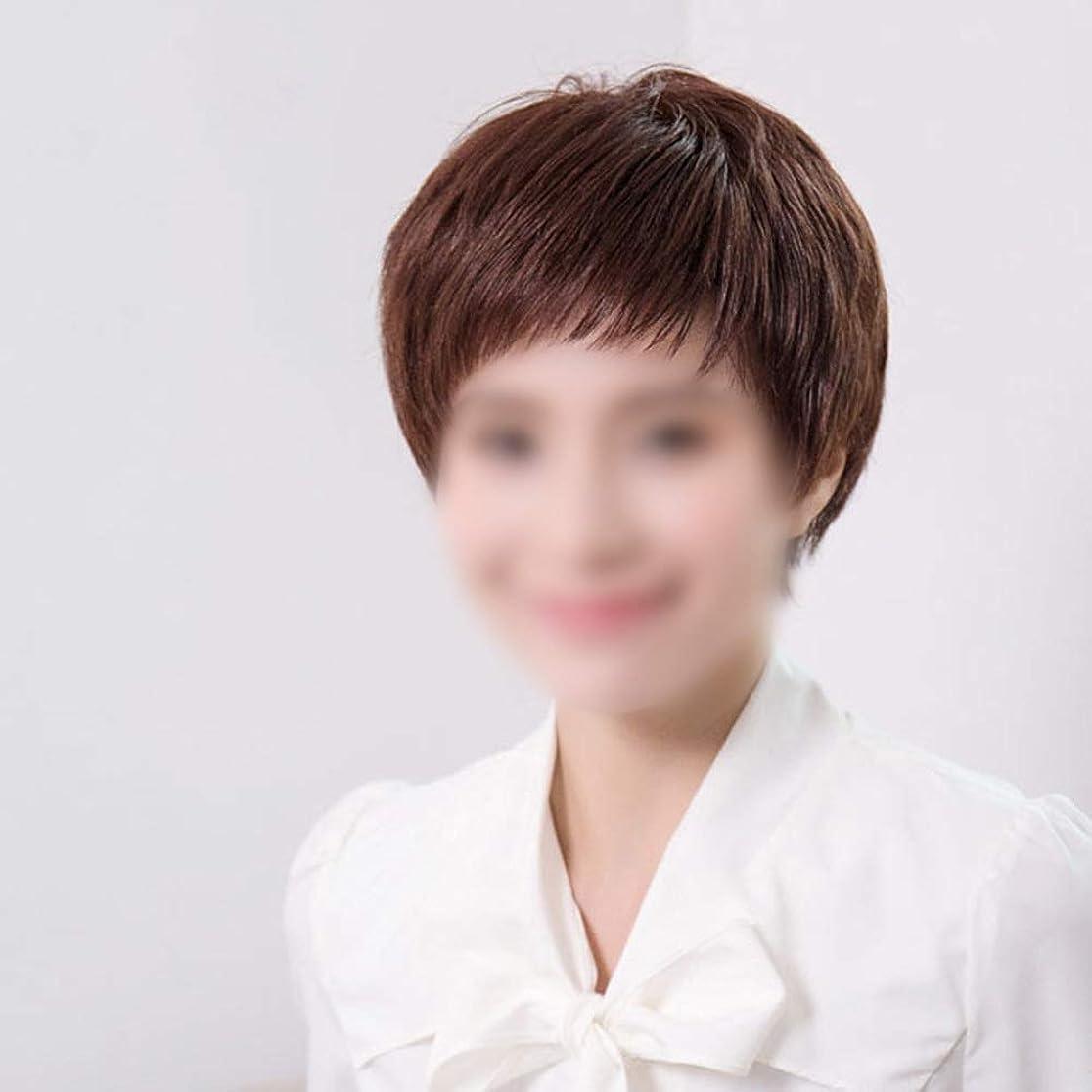 爆発期限切れもっともらしいYrattary 100%リアルヘアウィッグショートカーリーヘアーボブふわふわフェイスヘアファッションウィッグ用女性ファッションウィッグ (Color : Dark brown, Design : Mechanism)